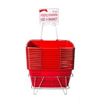 SET OF 12 LARGE SHOPPING BASKETS- INCLUDING STAND