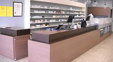 Custom work of pharmacy shelving